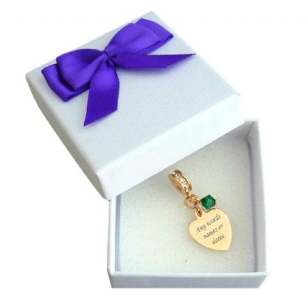 Engraved Heart Charm in Rose Gold with Birthstone and Crystals